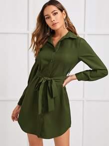 Button | Front | Shirt | Dress | Belt