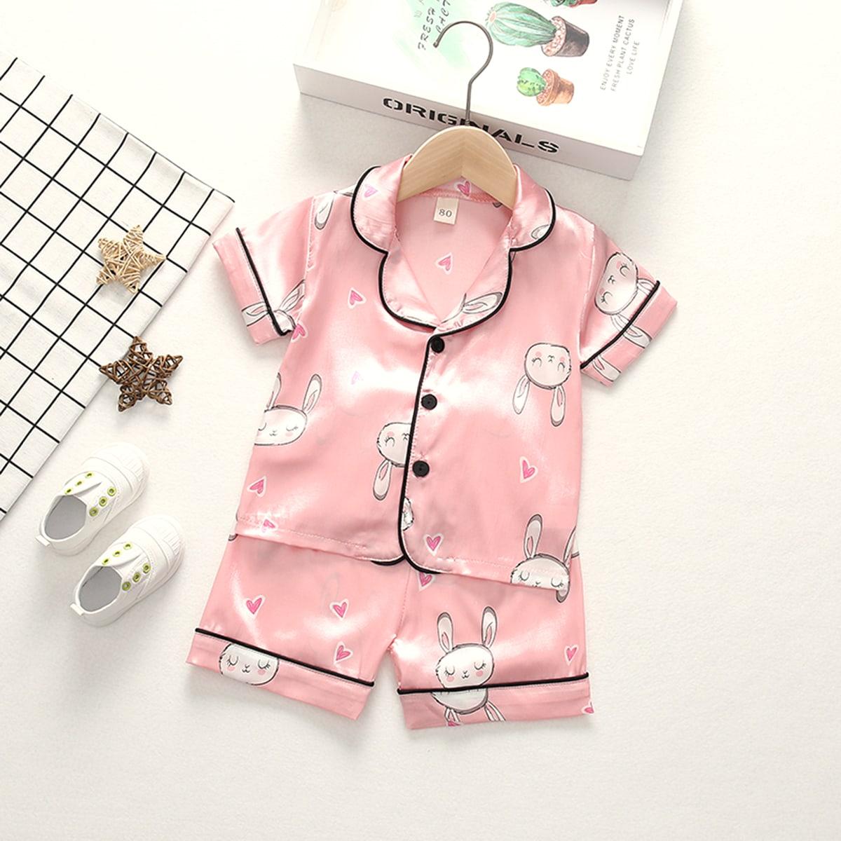 Атласная пижама с мультяшным принтом для девочек от SHEIN