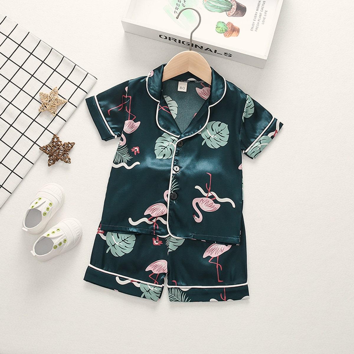 Атласная пижама с принтом фламинго для девочек от SHEIN