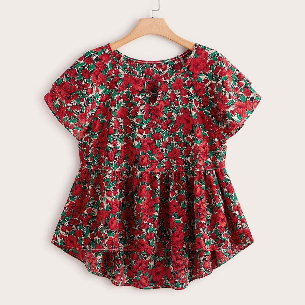 SHEIN / Große Größen - Babydoll Bluse mit Blumen Muster, Schlüsselloch Kragen und Stufensaum