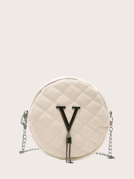 Tassel Decor Quilted Crossbody Bag