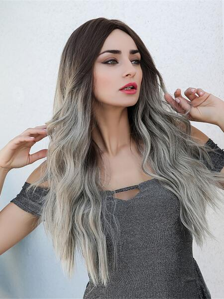 Natural Long Curly Gradient Wig