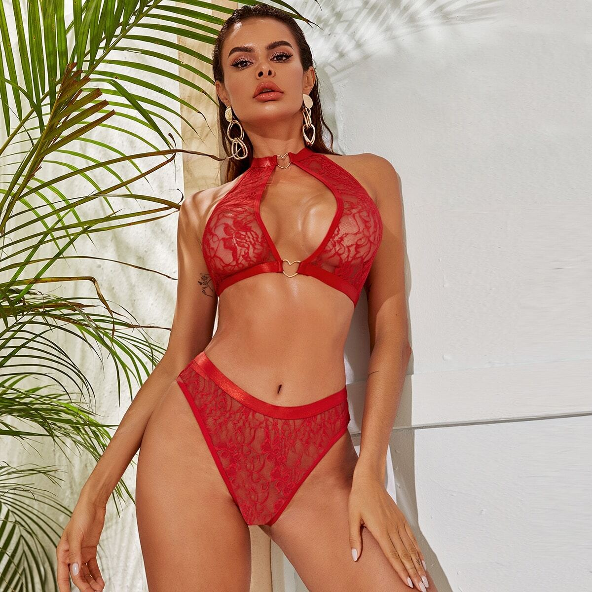 SHEIN / Floral Lace Heart Ring Linked Lingerie Set