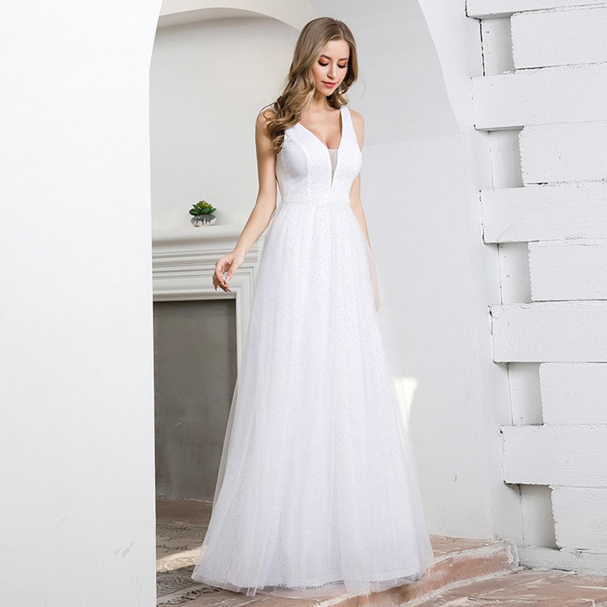 SHEIN / EverPretty vestido de fiesta de malla brillante de espalda V
