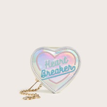 Letter Embroidered Heart Shaped Purse With Chain (swbag03200401713) photo