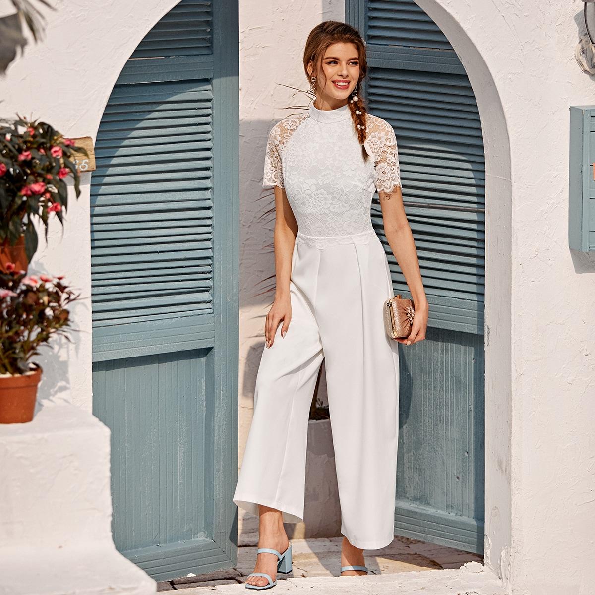 SHEIN / Mono culotte de cuello alzado panel con encaje