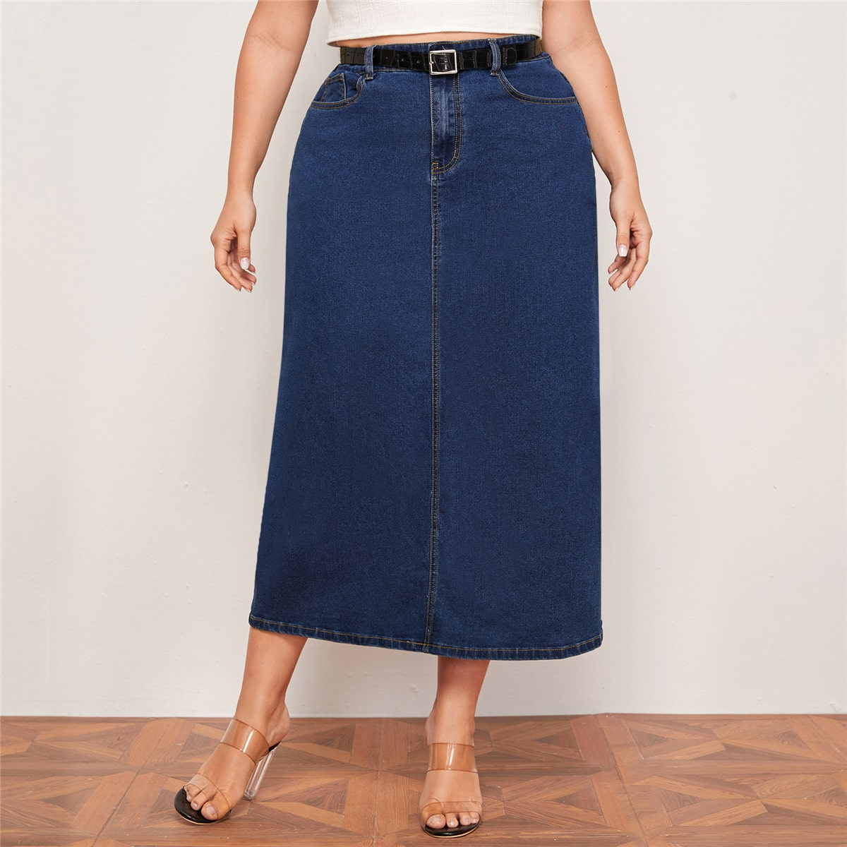 Прямая джинсовая юбка размера плюс без пояса фото