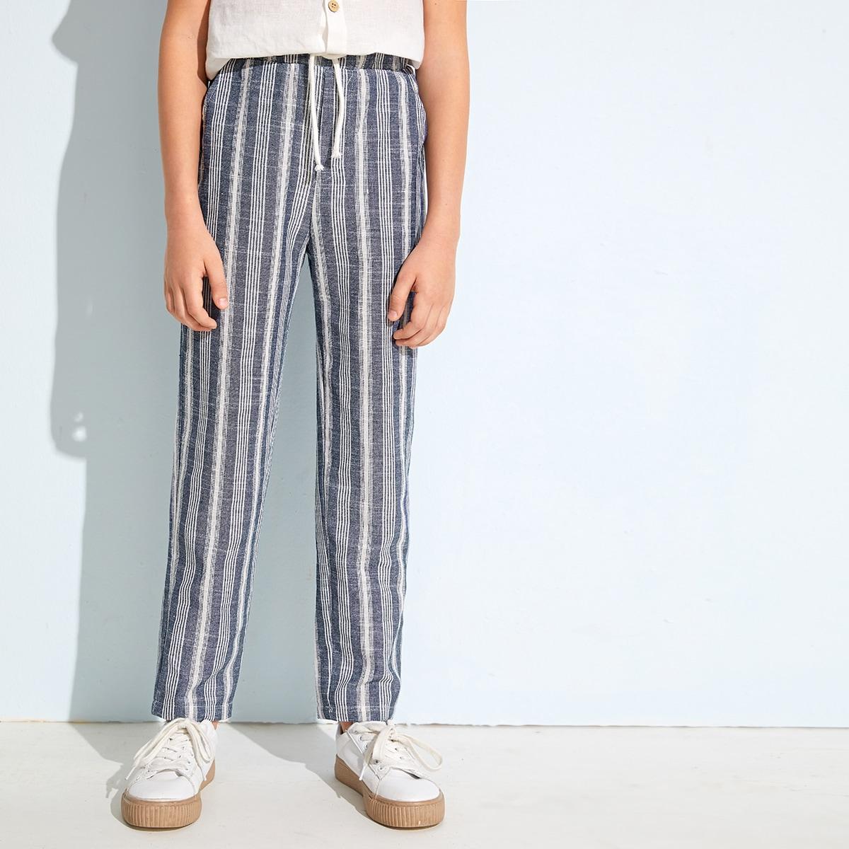 Полосатые брюки на кулиске для мальчиков от SHEIN