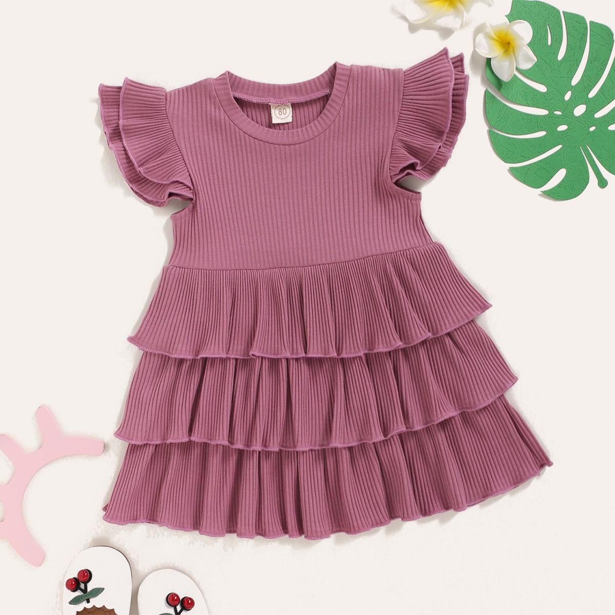 Многослойное платье в рубчик для девочек от SHEIN