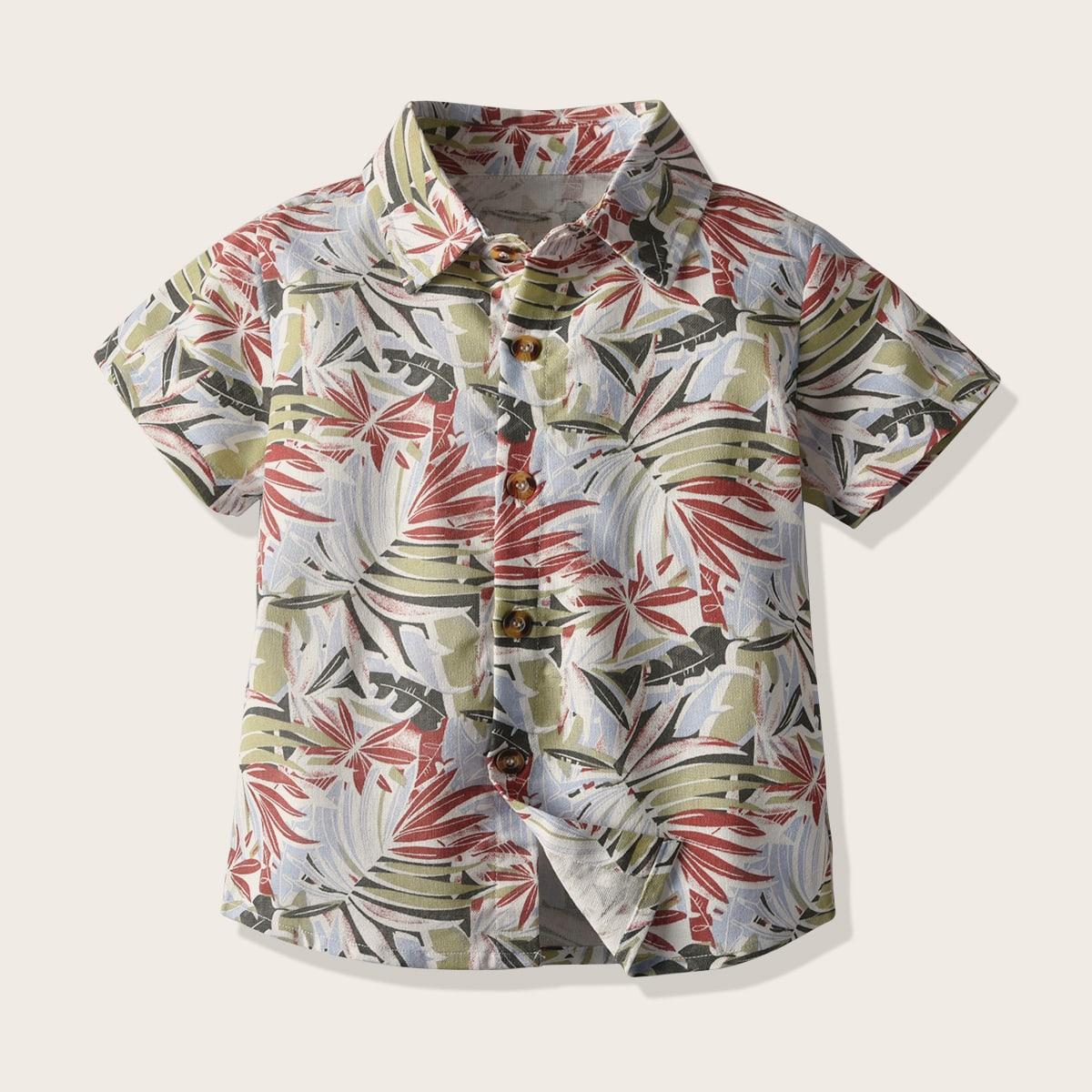 Рубашка с тропическим принтом для мальчиков от SHEIN
