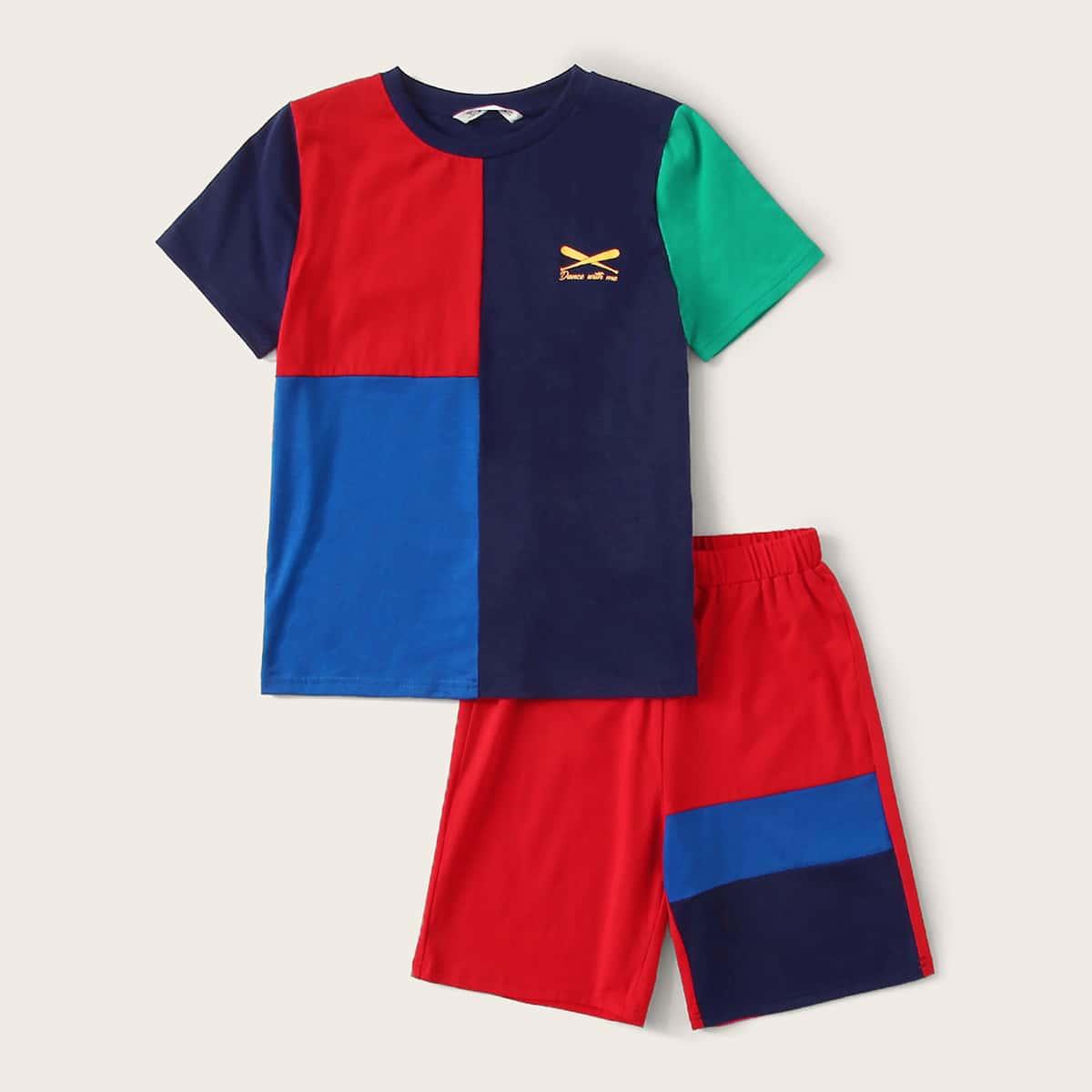 Контрастная пижама с текстовым принтом для мальчиков от SHEIN