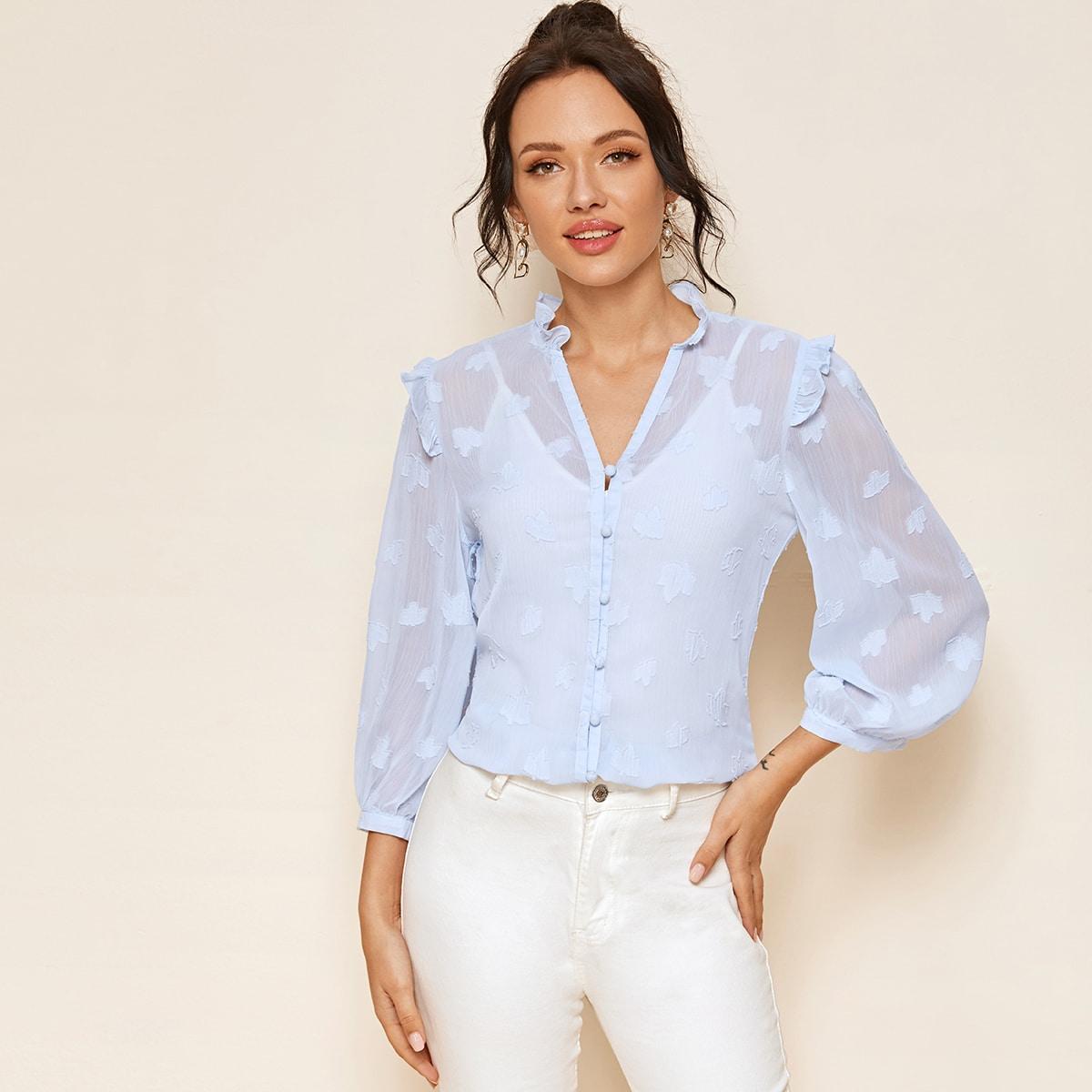 Прозрачная блуза с пуговицами без майки фото