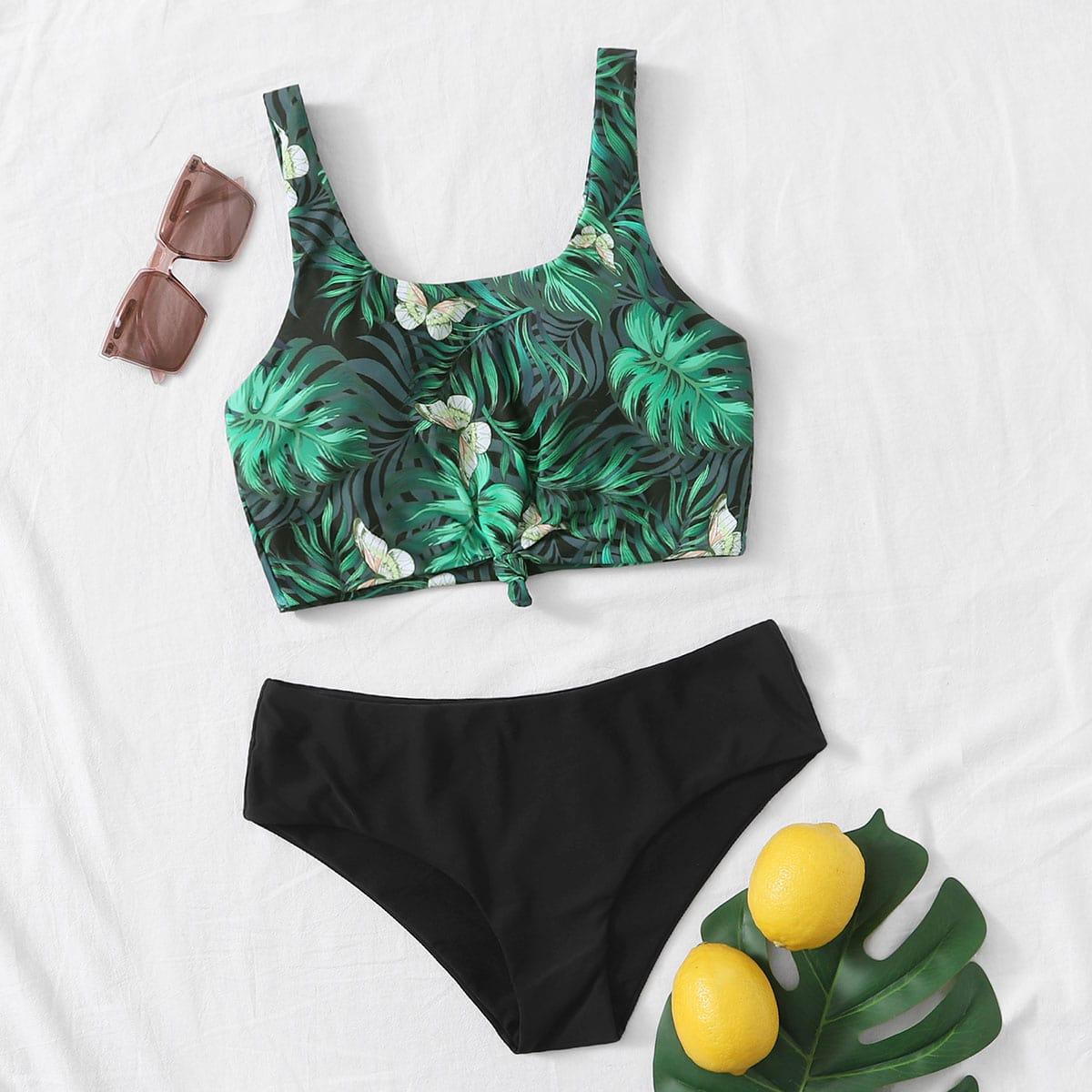 SHEIN / Bikini Badeanzug mit tropischem Muster und Knoten vorn