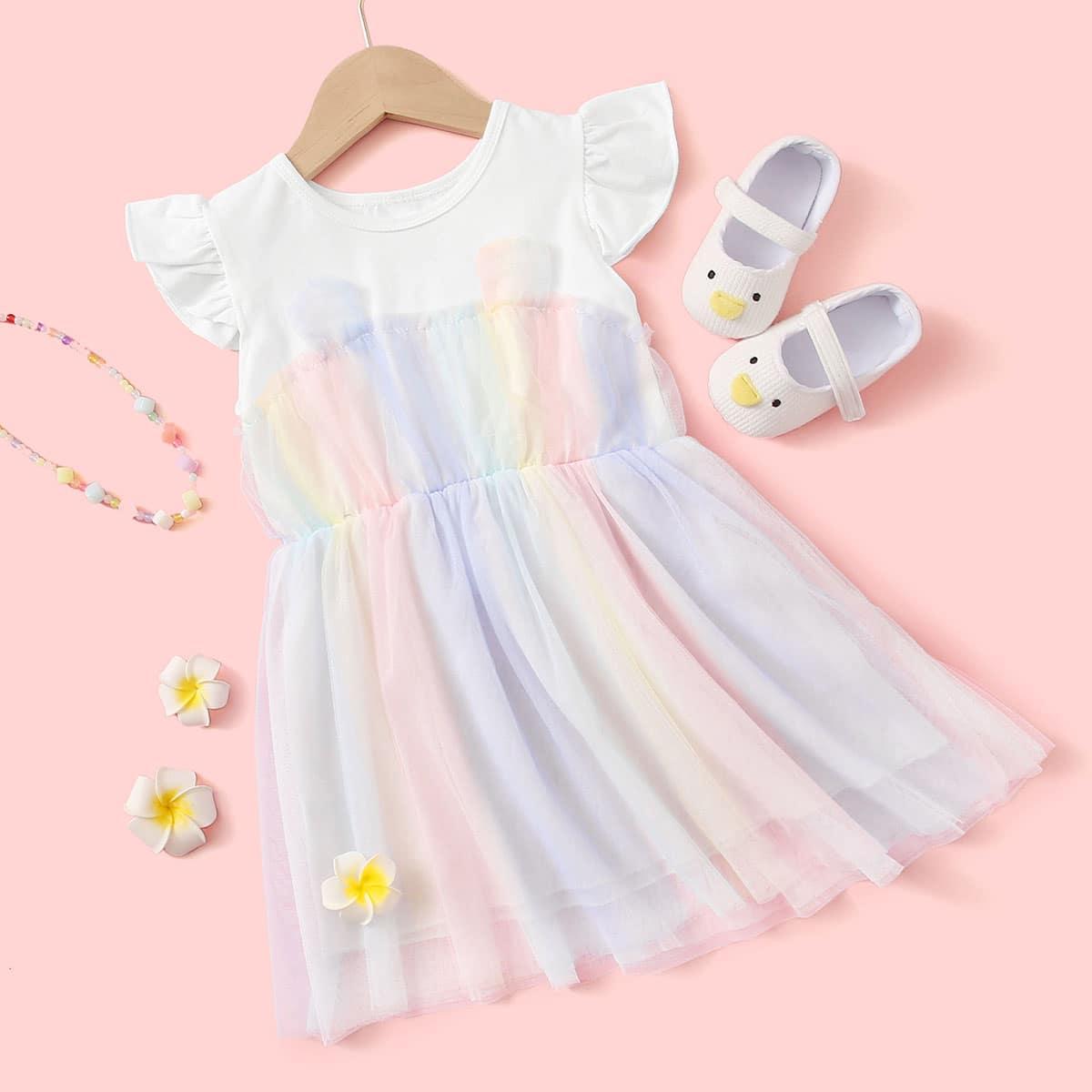 Расклешенное сетчатое платье для девочек фото