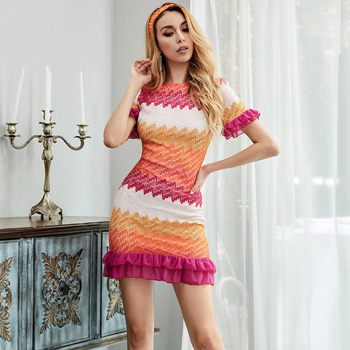 Missord контрастное платье с оборками и повязкой на голову от SHEIN