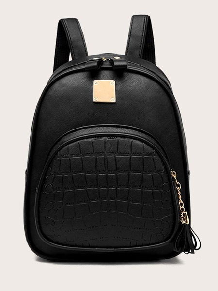 Croc Embossed Pocket Front Backpack
