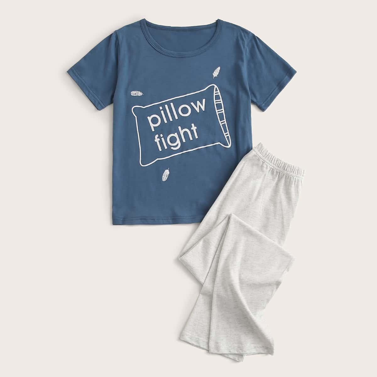 Брюки и футболка с текстовым принтом для мальчиков от SHEIN