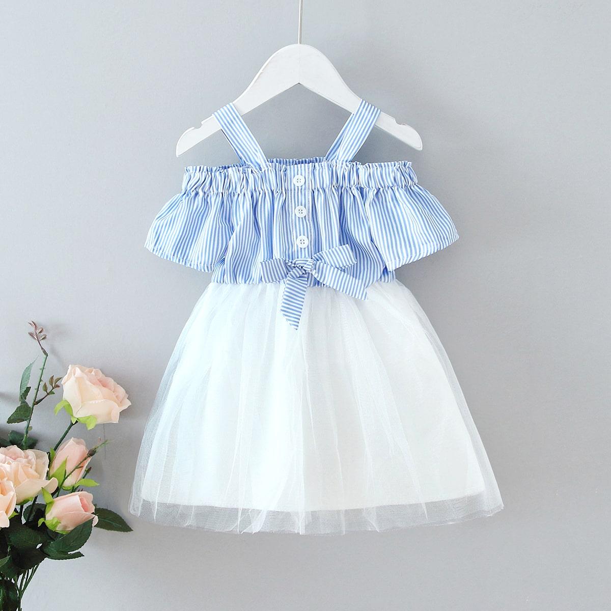 Сетчатое платье в полоску с бантом для девочек
