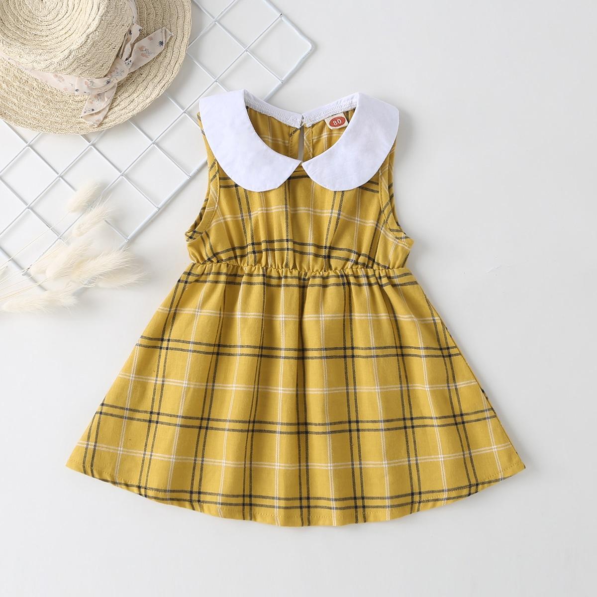 Платье в клетку с оригинальным вырезом для девочек от SHEIN