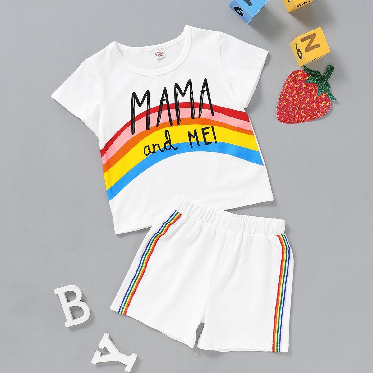 Шорты и футболка с оригинальным принтом для девочек фото