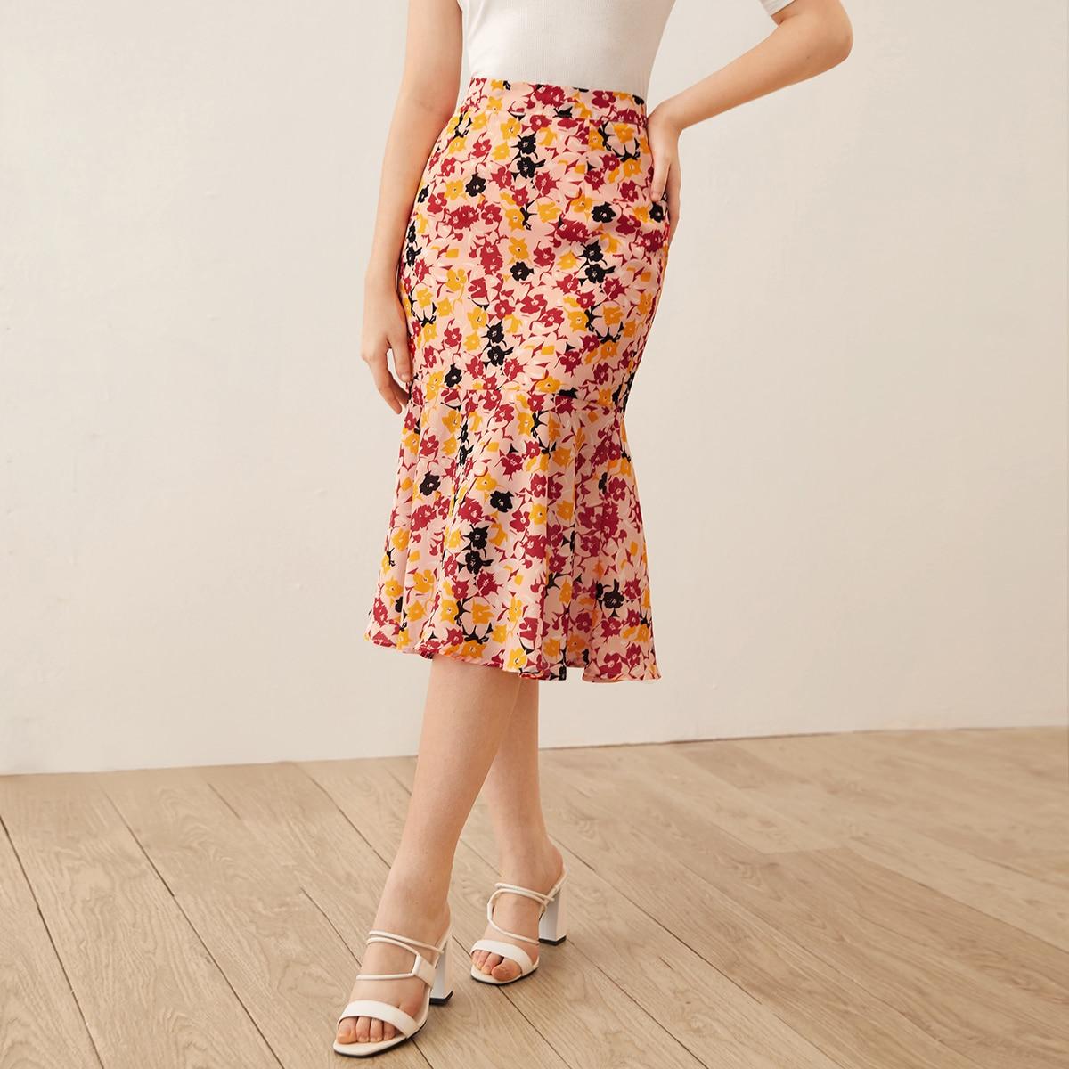 SHEIN / Falda midi bajo de cola de pez con estampado floral