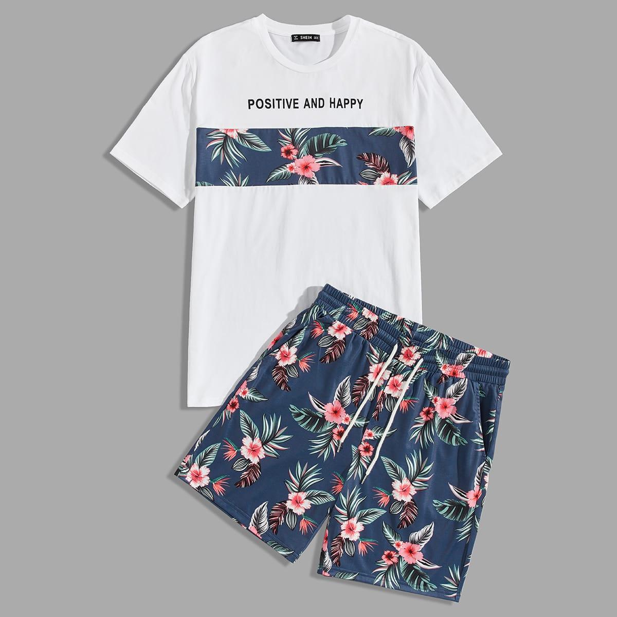 Мужские шорты и топ с тропическим, текстовым принтом от SHEIN