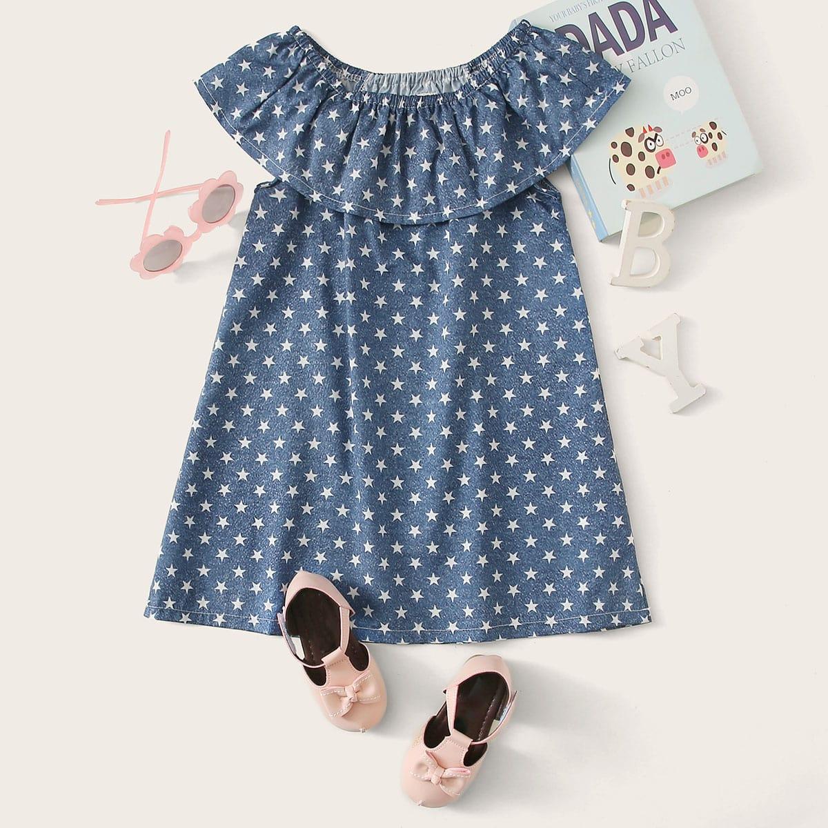 Платье-туника с оборками и принтом звезды для девочек от SHEIN