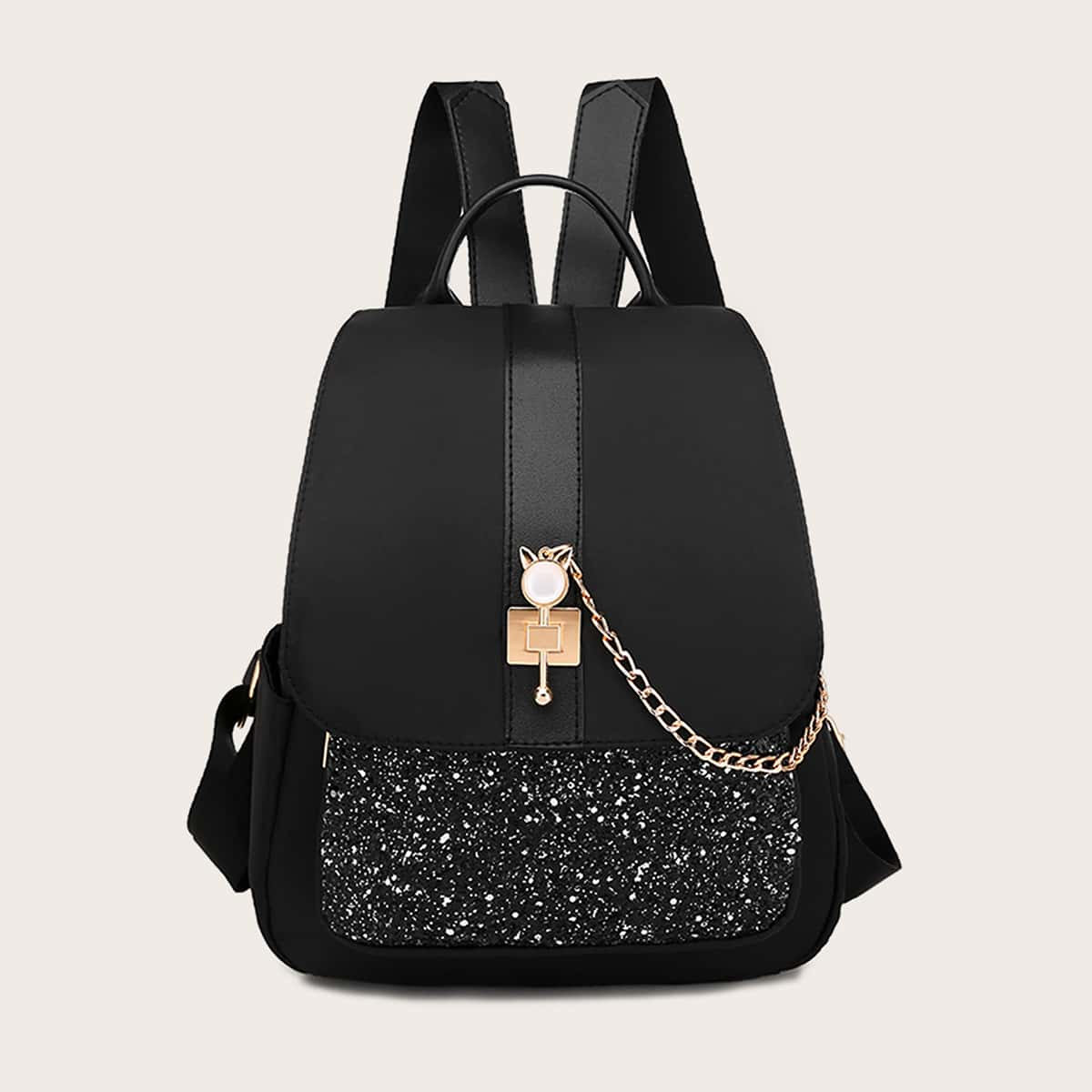 SHEIN / Glitter Detail Flap Rucksack