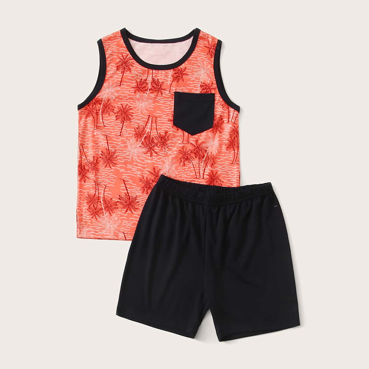 Пижама с контрастной отделкой и тропическим принтом для мальчиков от SHEIN