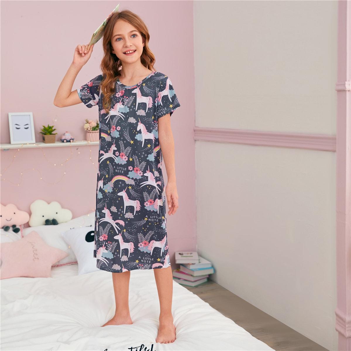 Ночная рубашка с принтом единорога для девочек от SHEIN