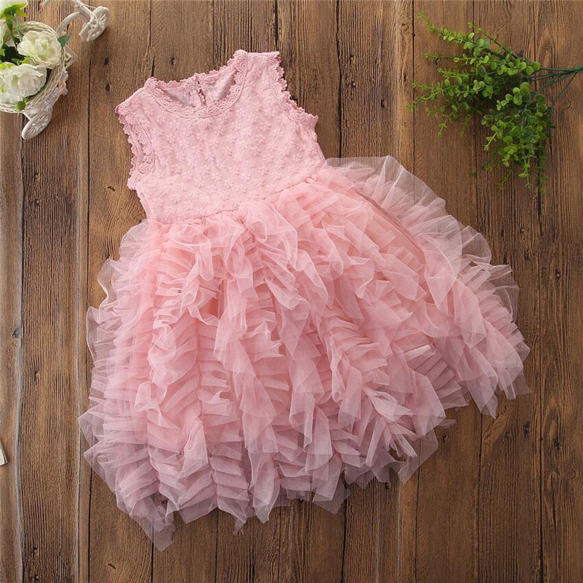Платье из тюля с оборками и узлом для девочек от SHEIN