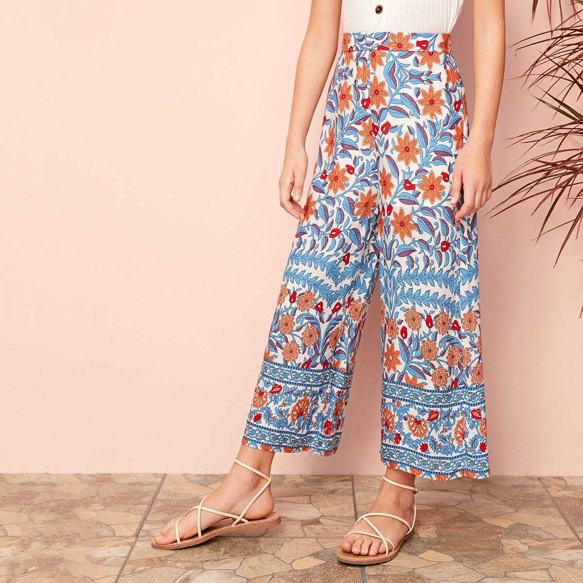 SHEIN / Mädchen Hosen mit Stamm Muster und weitem Beinschnitt