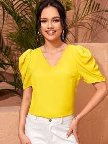 Yellow   V-neck   Sleeve   Neon   Top