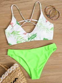 Swimsuit | Strappy | Bikini | Green | Neon | Back
