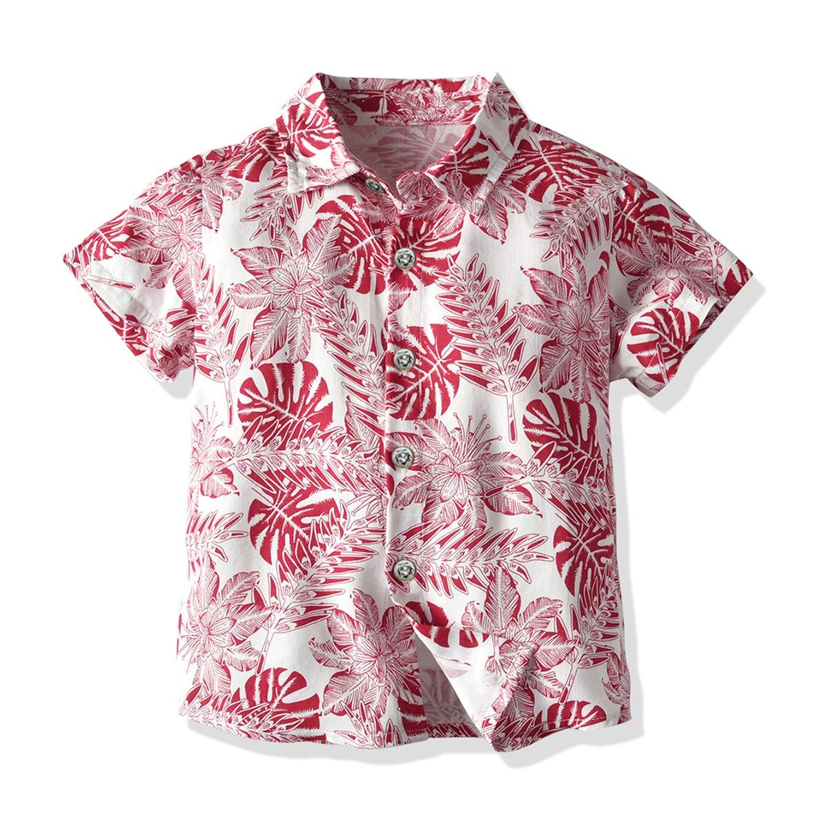 Рубашка с тропическим принтом для мальчиков фото