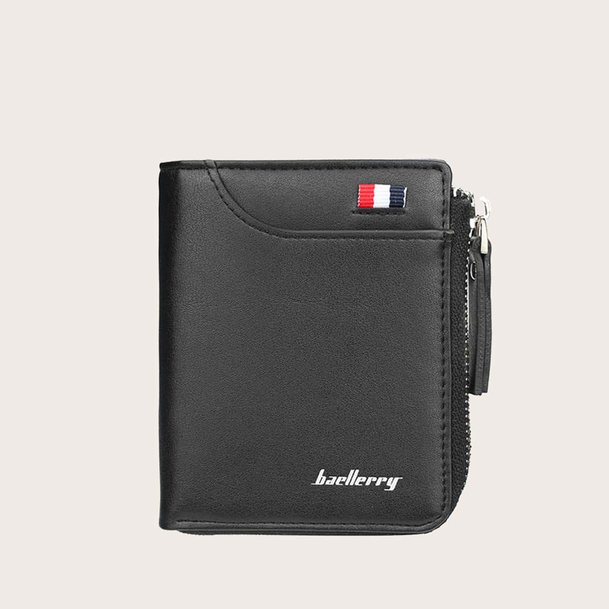 Мужской кошелек с молнией и текстовым принтом от SHEIN