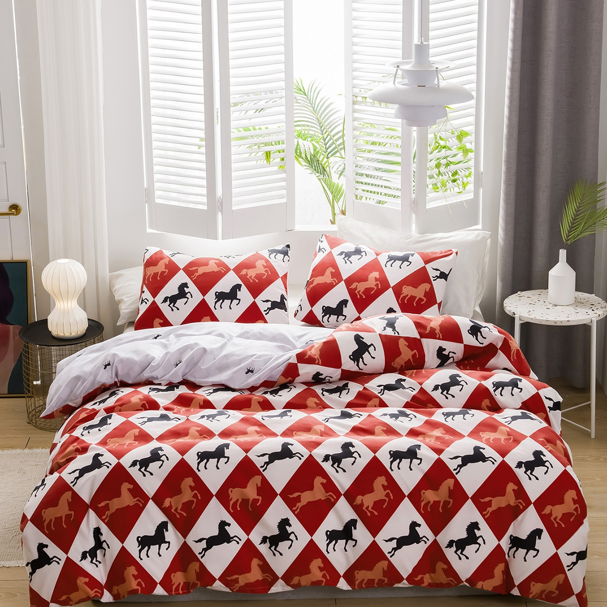 Комплект постельного белья с принтом лошади без наполнителя фото