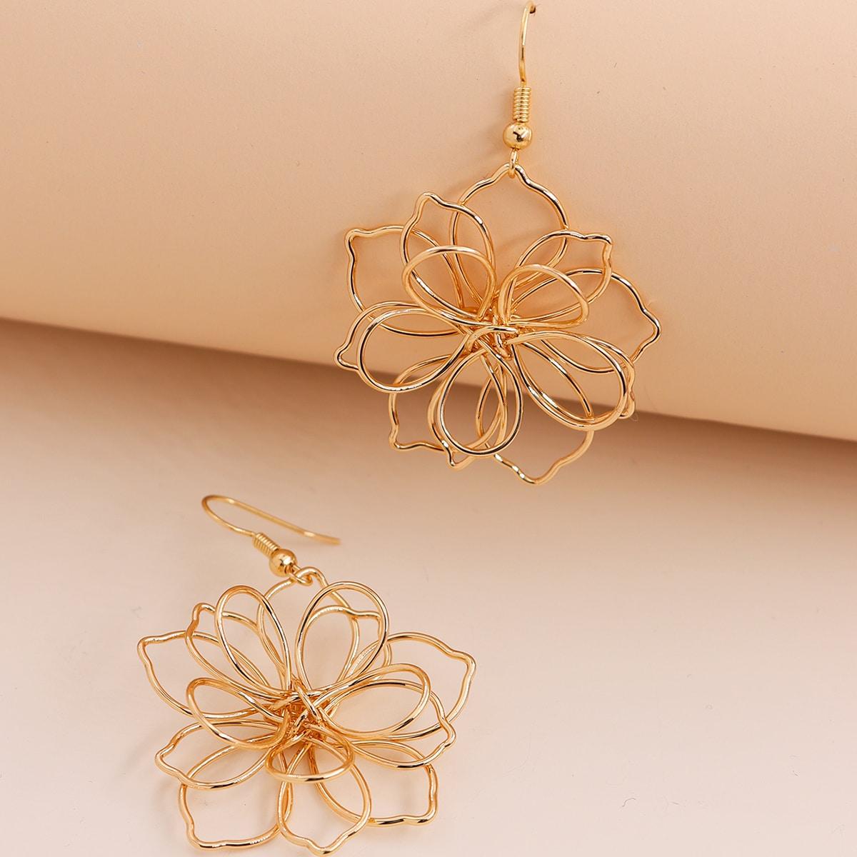 Серьги-подвески в форме цветка