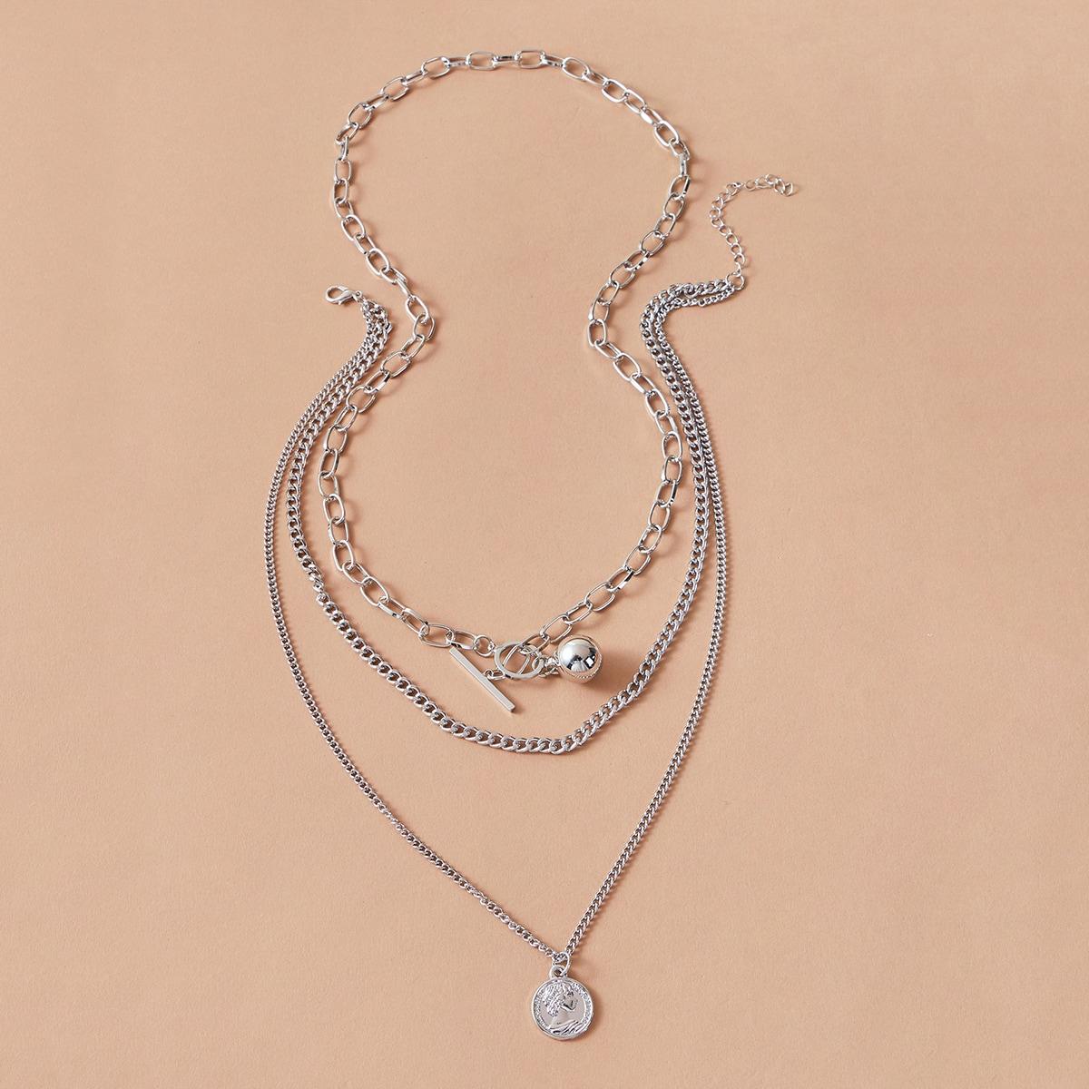Мужское многослойное ожерелье с подвеской монеты от SHEIN