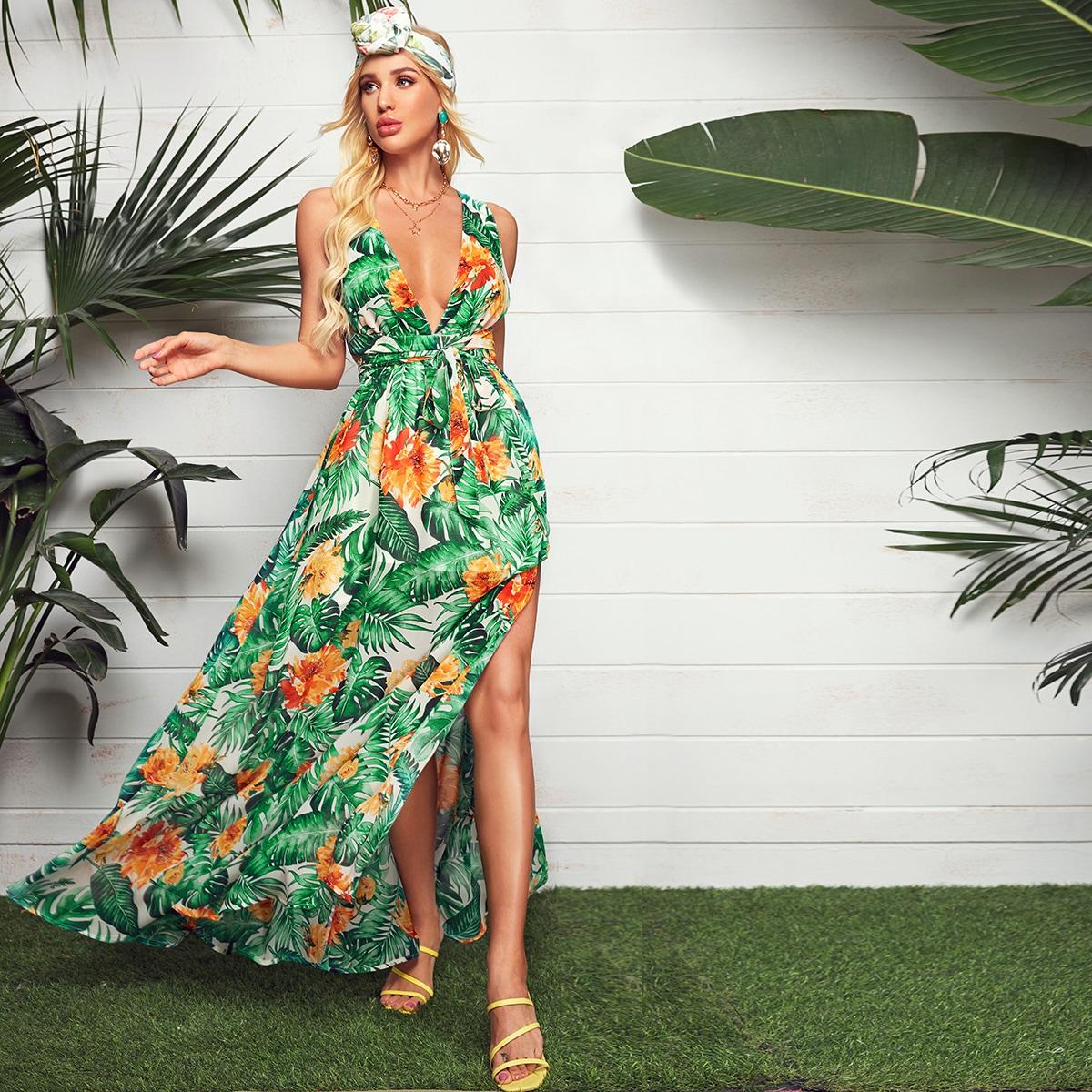 Платье макси с глубоким вырезом, разрезом и тропическим принтом фото
