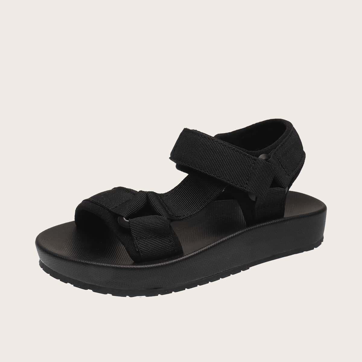 Сандалии на липучке с открытым носком для девочек фото