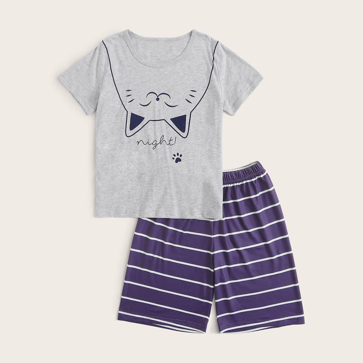 Пижама в полоску с мультяшным принтом для мальчиков от SHEIN