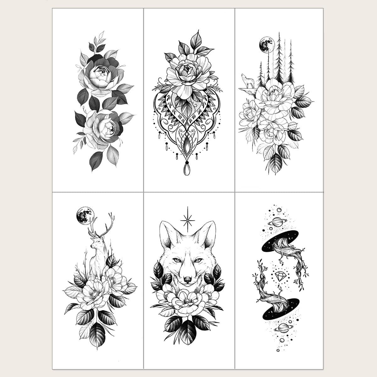 6шт стикер-тату с узором волка и цветка