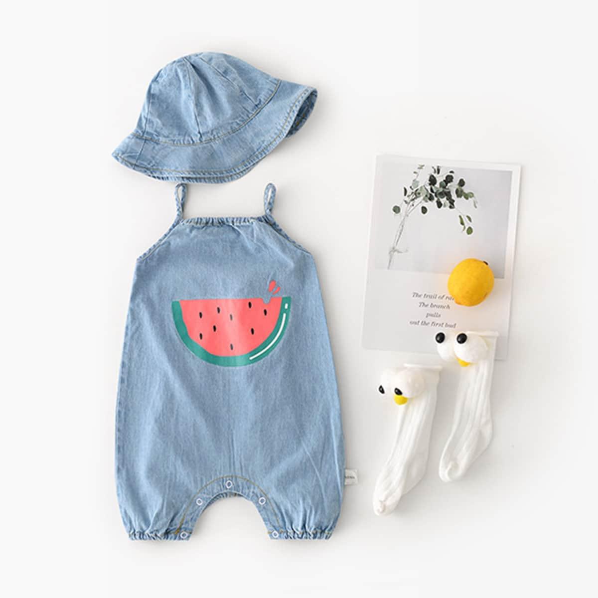 Джинсовый комбинезон с принтом арбуза  и шапкой для девочек от SHEIN