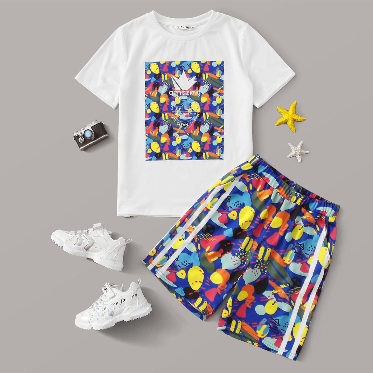 Топ с текстовым принтом и шорты с принтом для мальчиков фото
