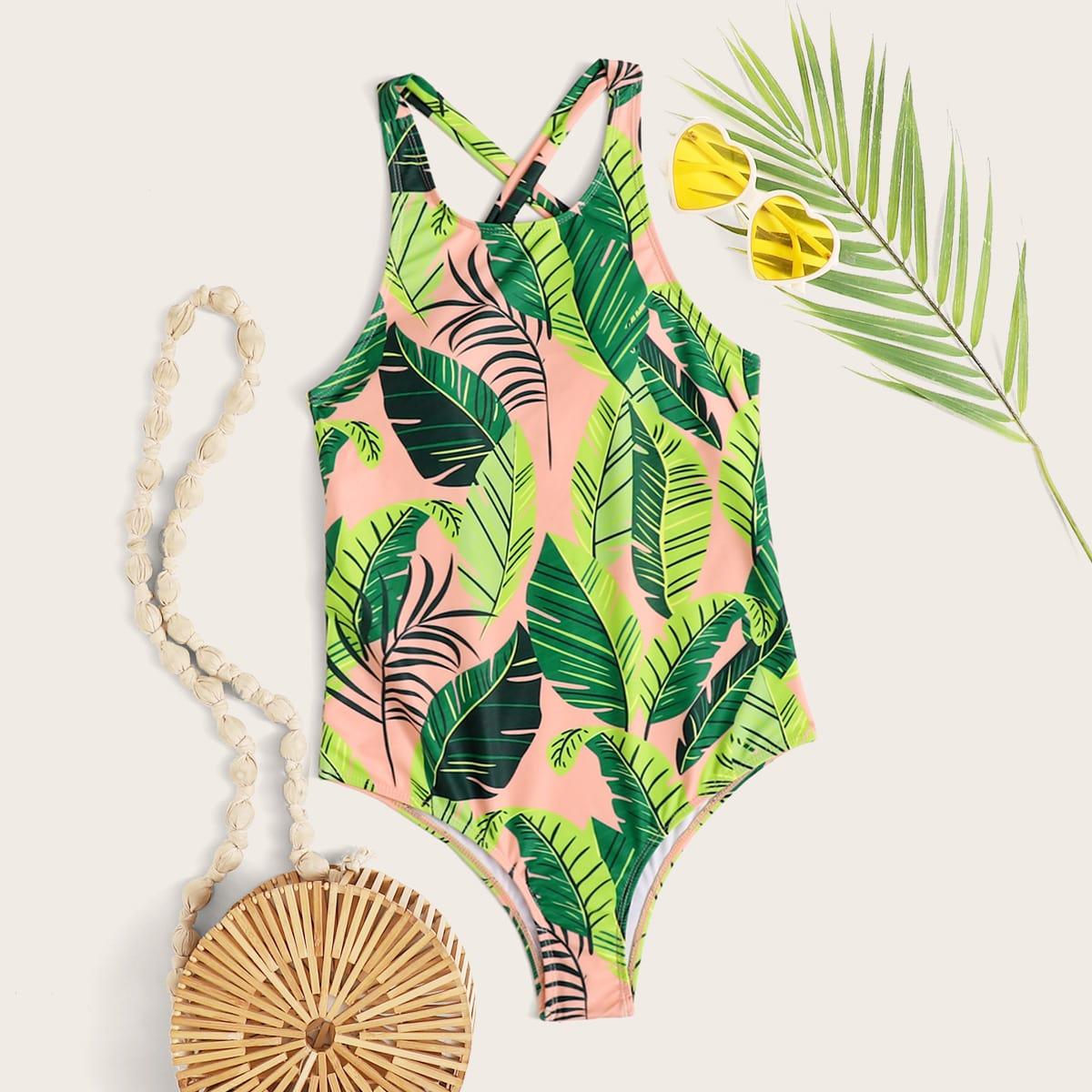 Тропический слитный купальник фото