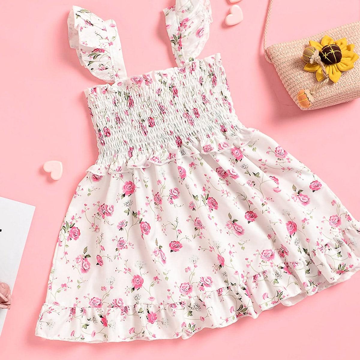 Платье с цветочным принтом и складкой для девочек от SHEIN