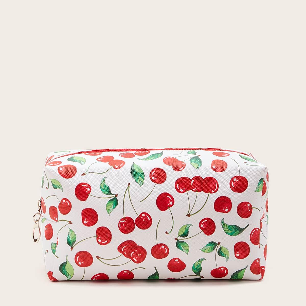 Косметическая сумка с узором вишни фото