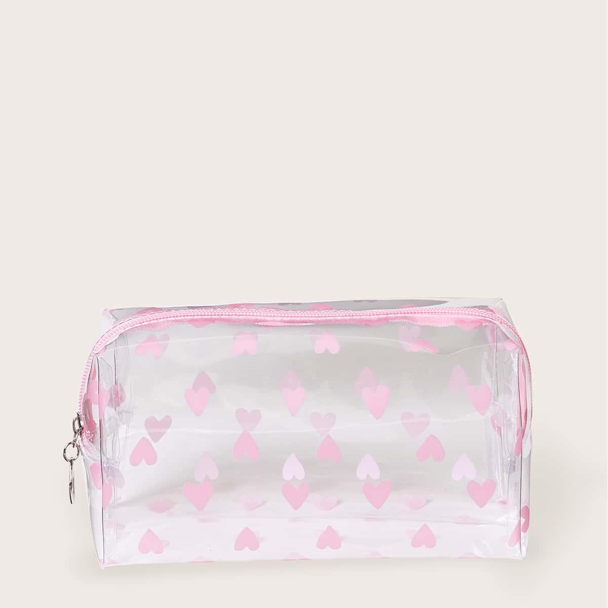 Прозрачная косметическая сумка с узором сердечка фото