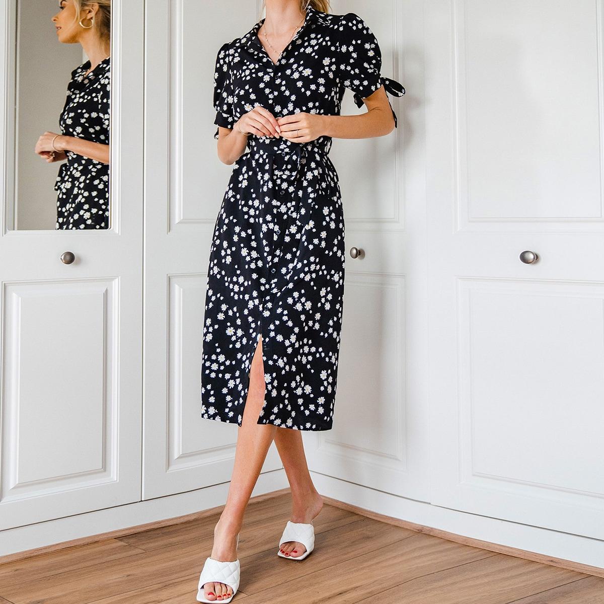 Платье-рубашка с поясом, узлом и цветочным принтом фото